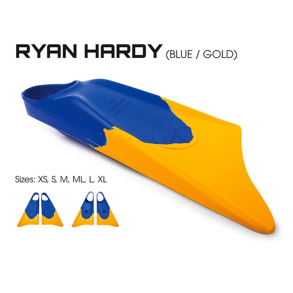 Limited Edition Blue Gold bodyboard fins